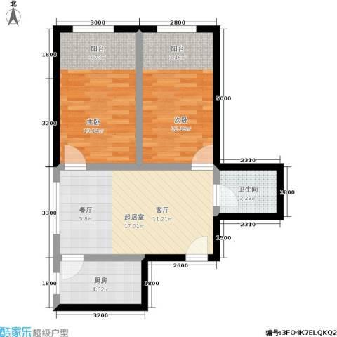 恩源智湾2室0厅1卫1厨71.00㎡户型图