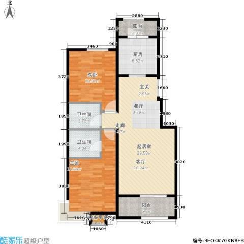 煜明赫敦山(红桥蓝座二期)2室0厅2卫1厨111.00㎡户型图