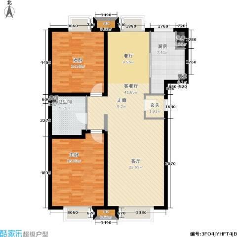 游龙逸海庭院2室1厅1卫1厨104.00㎡户型图