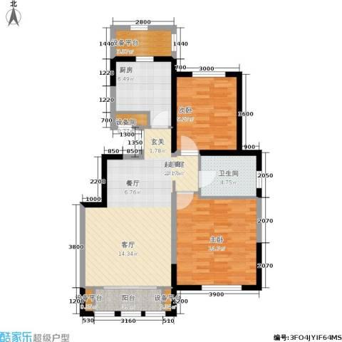 融科瀚棠2室0厅1卫1厨91.00㎡户型图