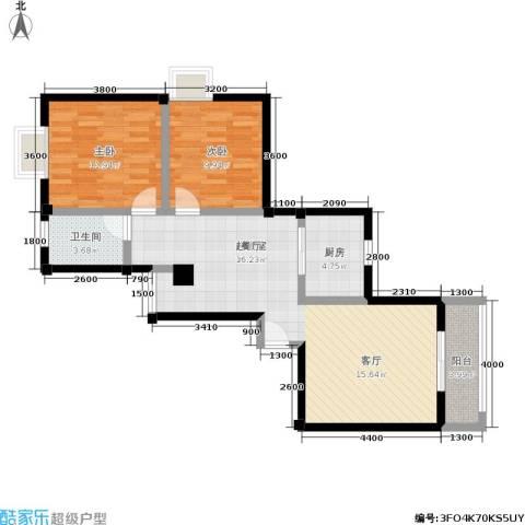 水岸新城2室0厅1卫1厨91.00㎡户型图