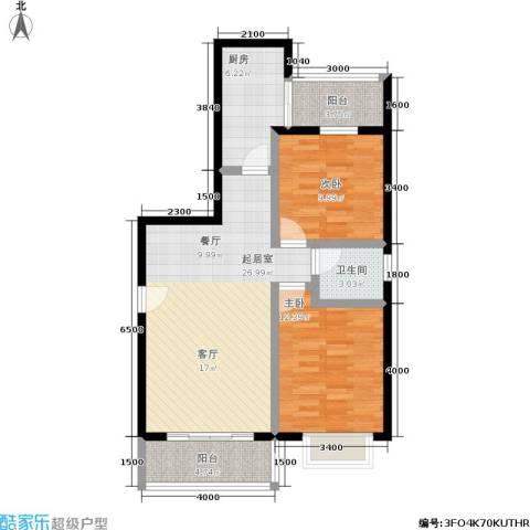水岸新城2室0厅1卫1厨90.00㎡户型图