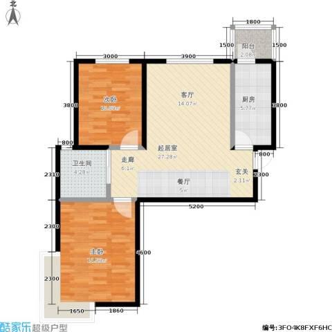 阳光绿岛2室0厅1卫1厨90.00㎡户型图