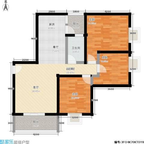 水岸新城3室0厅1卫0厨107.00㎡户型图