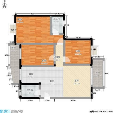 水岸新城3室0厅2卫0厨125.00㎡户型图