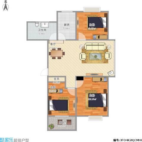 嵛景华城3室1厅1卫1厨102.00㎡户型图