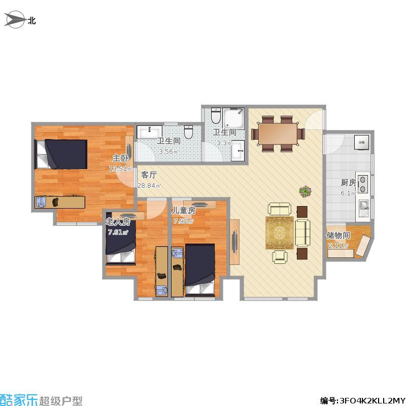 97平B3户型三房两厅两卫