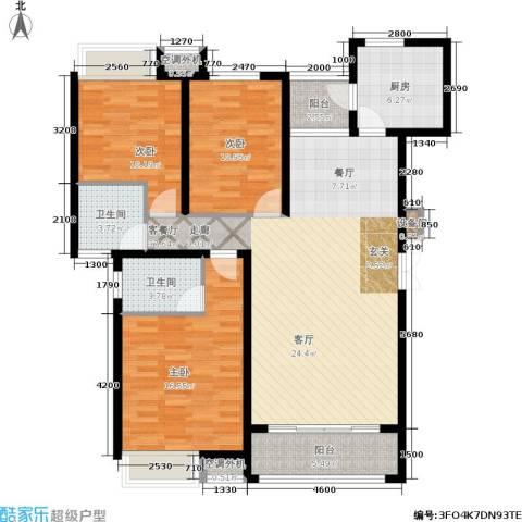 东方新城3室1厅2卫1厨125.00㎡户型图