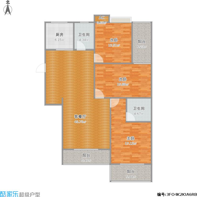 可儿花园128平三房两厅两卫