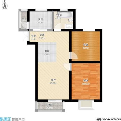 百合阳光2室1厅1卫1厨88.00㎡户型图