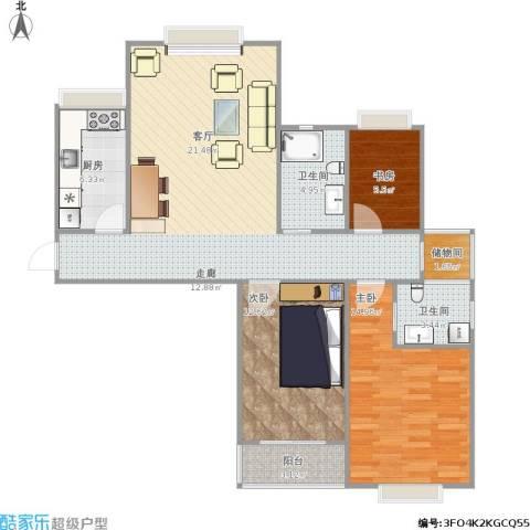 广顺现代城3室1厅2卫1厨117.00㎡户型图
