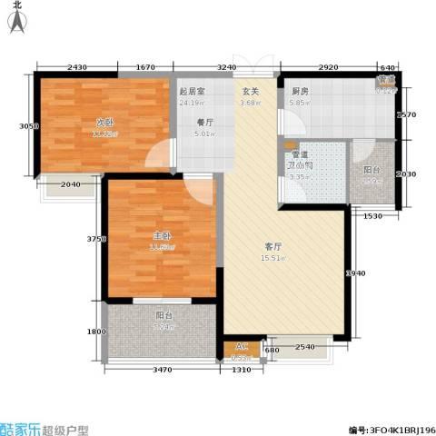 御景水城2室0厅1卫1厨92.00㎡户型图
