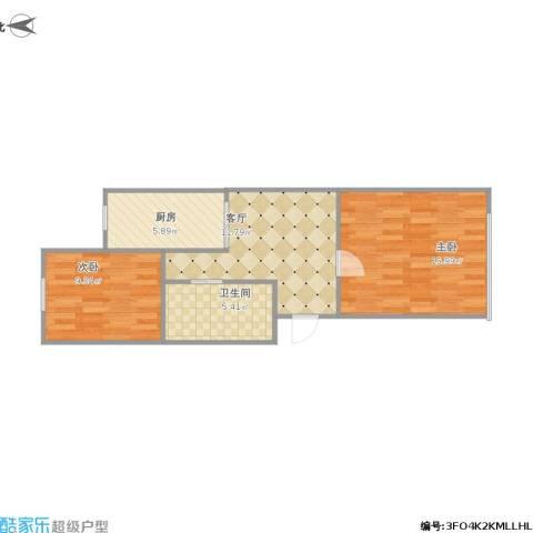 碧江路红旗五村2室1厅1卫1厨65.00㎡户型图