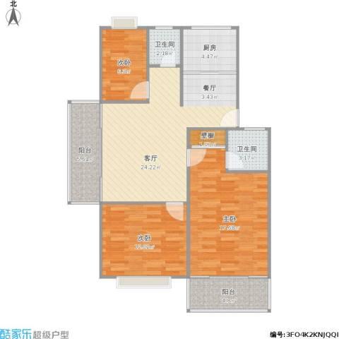 长阳花园3室1厅2卫1厨111.00㎡户型图