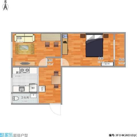 振德里2室1厅1卫1厨44.55㎡户型图