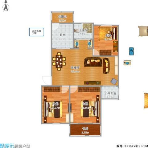 宝山十村3室1厅1卫1厨103.00㎡户型图