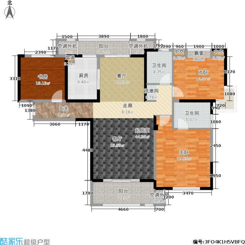 东紫园129.00㎡23#24#楼F户型