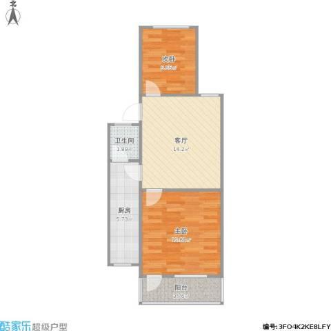 凤凰花园城2室1厅1卫1厨62.00㎡户型图