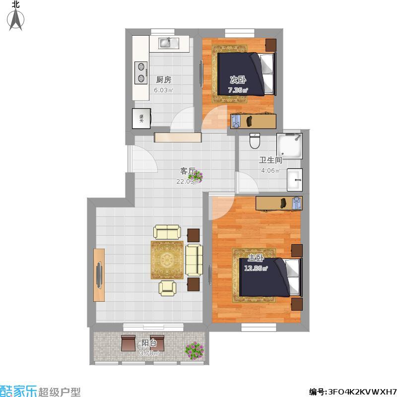 89平2室一厅1