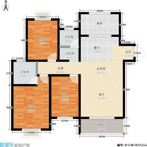皇山花园别墅3室0厅2卫1厨130.00㎡户型图