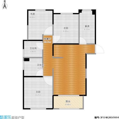 景汇佳苑3室1厅2卫1厨102.00㎡户型图