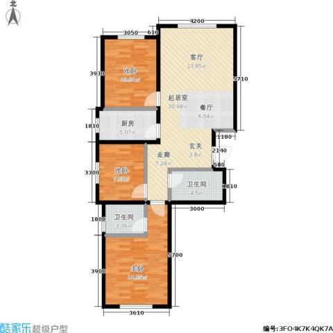 皇山花园别墅3室0厅2卫1厨108.00㎡户型图