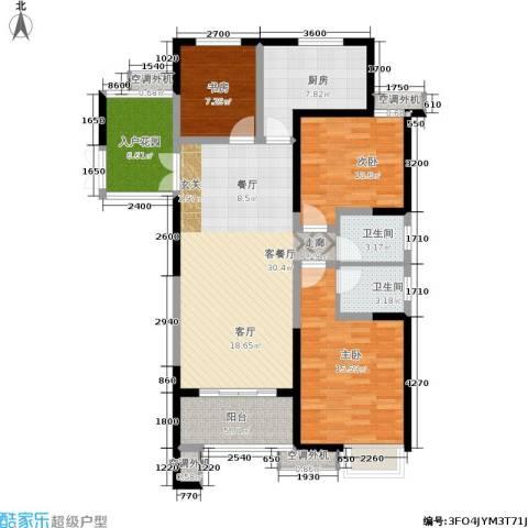 世园大公馆3室1厅2卫1厨136.00㎡户型图