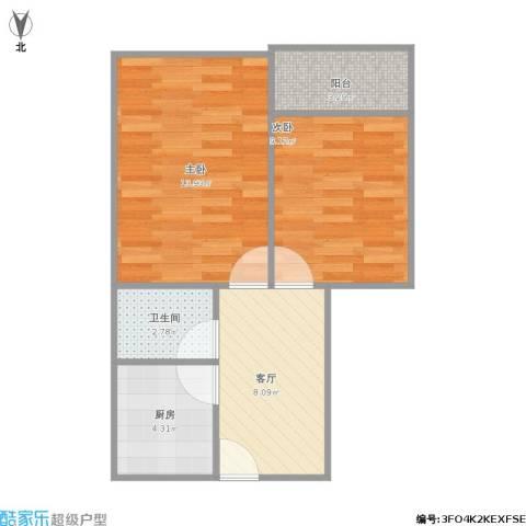 保平小区2室1厅1卫1厨57.00㎡户型图