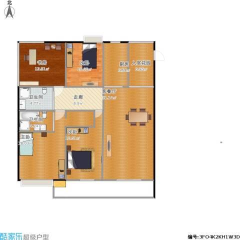 天地华城4室1厅2卫1厨152.00㎡户型图