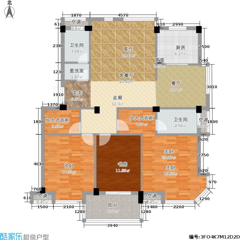 凯凌・香格里拉二期134.00㎡B户型3室2厅2卫