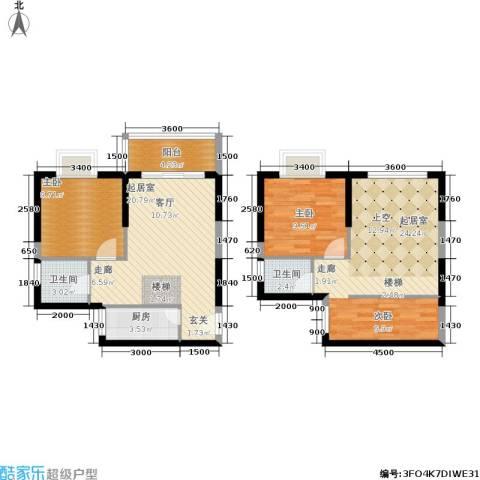 惠东金河湾花园2室0厅2卫1厨77.53㎡户型图