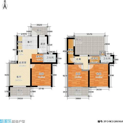 东盛・盛世城3室0厅2卫1厨127.18㎡户型图