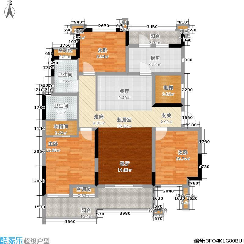 中海凯旋门121.00㎡中海・凯旋门一期12号楼二层B2户型