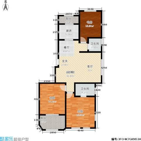 煜明赫敦山(红桥蓝座二期)3室0厅2卫1厨131.00㎡户型图
