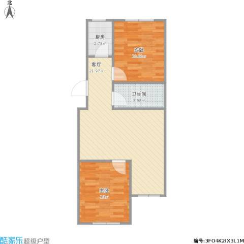 定慧西里2室1厅1卫1厨65.00㎡户型图