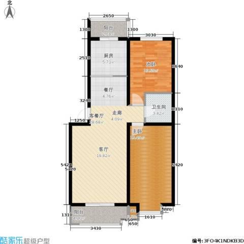 保利馨园2室1厅1卫1厨100.00㎡户型图