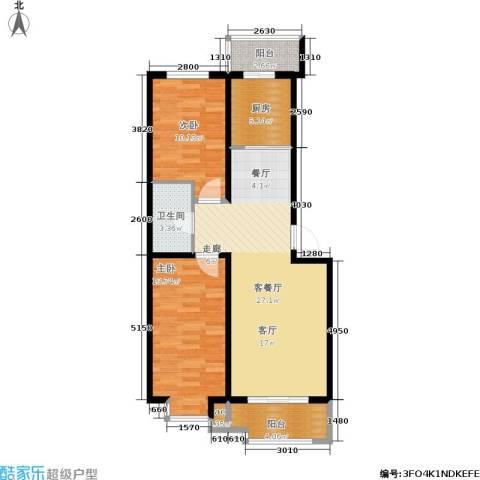 保利馨园2室1厅1卫1厨95.00㎡户型图