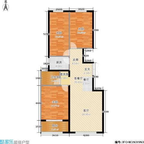 和利水岸名都3室1厅1卫1厨98.92㎡户型图