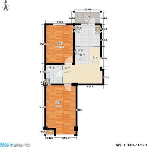 山水龙城2室0厅1卫1厨82.00㎡户型图