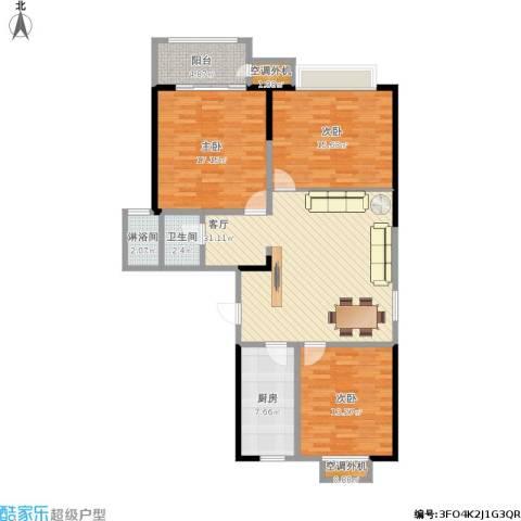 香桥郡3室1厅1卫1厨135.00㎡户型图