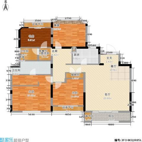 金地松江艺境4室1厅2卫1厨144.00㎡户型图