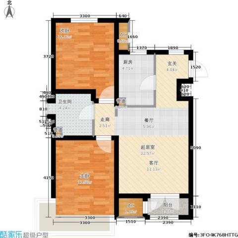 松江东湖小镇2室0厅1卫1厨86.00㎡户型图
