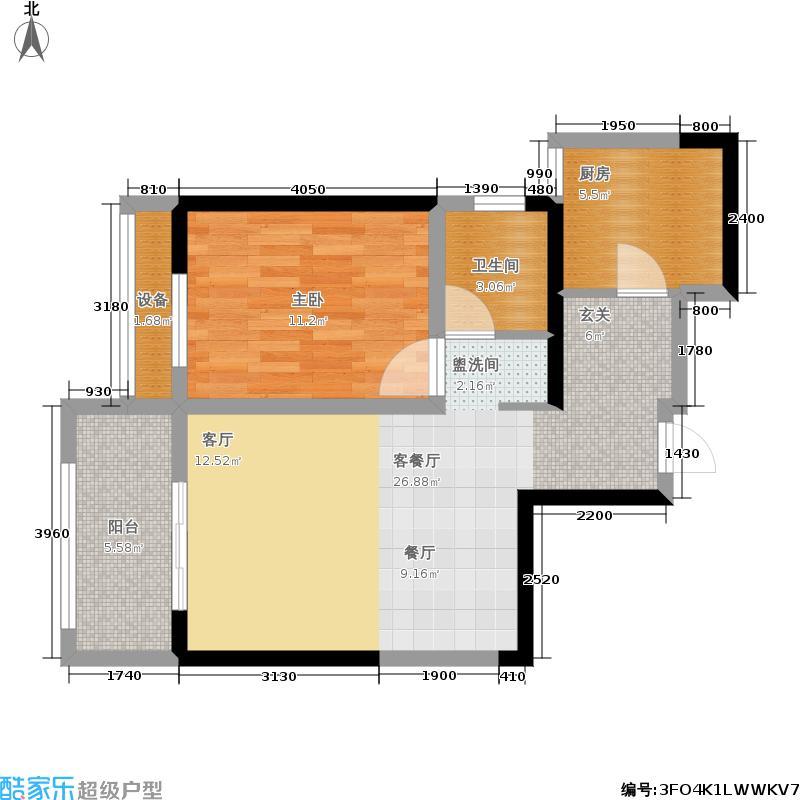 龙湖锦艺城63.45㎡观锦户型1室2厅