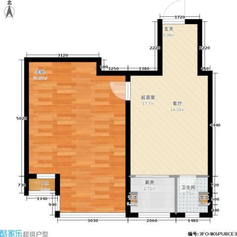 山水龙城1室0厅1卫1厨66.00㎡户型图