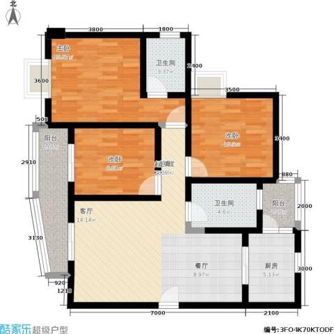 水岸新城3室0厅2卫1厨112.00㎡户型图