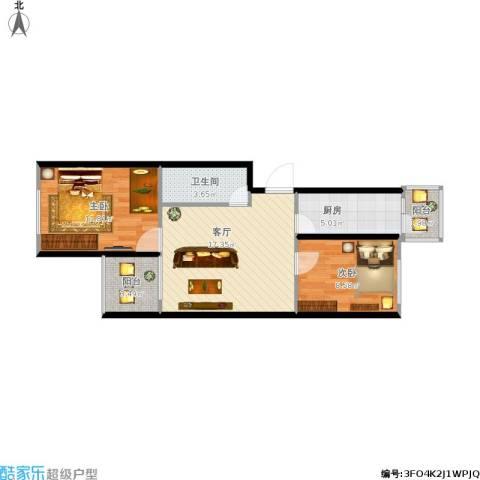 西平里2室1厅1卫1厨72.00㎡户型图