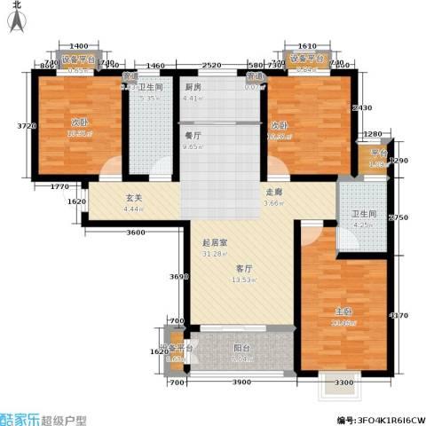 学府名城3室0厅2卫1厨128.00㎡户型图