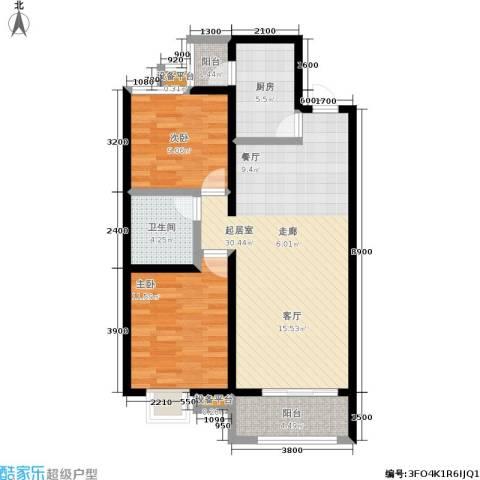 学府名城2室0厅1卫1厨99.00㎡户型图