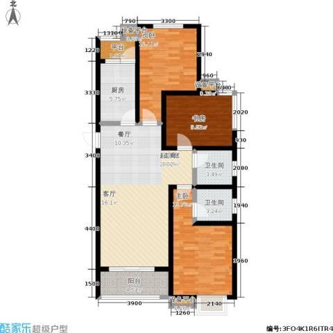 学府名城3室0厅2卫1厨124.00㎡户型图