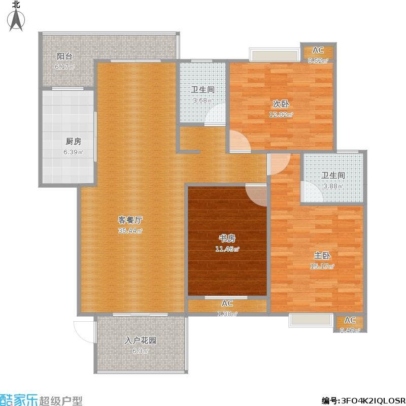 福泽上城N3户型三室两厅两卫